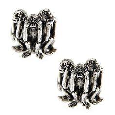 Jona Sterling Silver Three Wise Monkeys Cufflinks