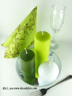 ... mais aussi vert anis, vert mousse, or, prune, taupe et turquoise. #bougie #cylindrique http://www.decodefete.com/bougie-cylindre-vert-anis-p-3313.html