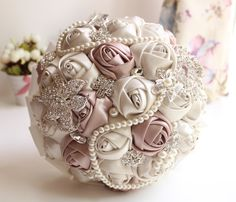 Wholesale Wedding Dresses Accessories Satin Rose Wedding bouquet Pearl Crystal handmade Bridal Flowers Bridesmaid bouquets Brooches Pearl Ribbon, Free shipping, $53.08/Piece | DHgate Mobile