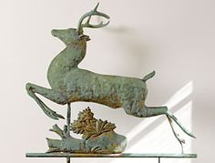 "The Laurens purchased this leaping stag weathervane in Amesbury, Massachusetts. It was from a home in Rye, New Hampshire, that once belonged to Marshall Field. The maker of this late nineteenth-century example is unknown. ""When I arrived at the auction house,"" says Jerry, ""it was hanging from a string and I had to get up on a ladder to get a closer look."""