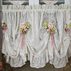 Shabby chic lace balloon / swag curtain with pink roses & ribbons