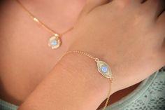 gold bracelet, opal gold bracelet, everyday bracelet, evil eye bracelet, blue opal, opal bracelet - 10027 by Avnis on Etsy