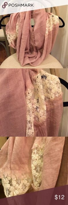 Rose Infinity Scarf Never worn rose lavender infinity scarf with 2 panels of cream lace Accessories Scarves & Wraps