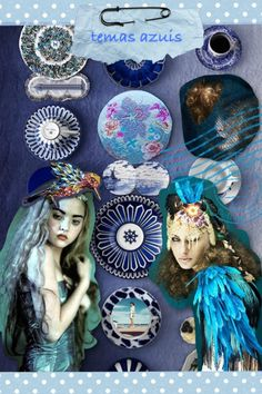 Artes da Cris: Colagens da semana - Azul e lilás
