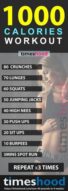 Plan to Lose Up To 40 Pounds in 4 Weeks 1000 Calories workout: Total Body workout. Take this 1000 calories HIIT workout challenge. Want to lose weight fast? Looking for Best workout for weight loss? Weight Loss Challenge, Fast Weight Loss, Workout Challenge, Weight Loss Program, How To Lose Weight Fast, Weight Loss Tips, Weight Gain, Losing Weight, Exercise For Weight Loss