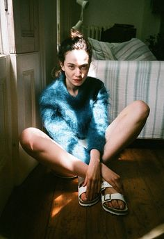 fuzzy blue sweater and white birks
