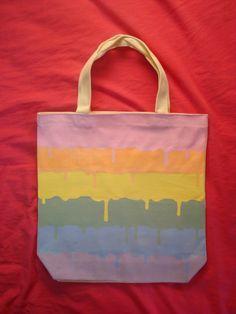 ebc02909d7 Items similar to Pastel rainbow dripping kawaii hand painted tote bag fairy  kei fashion purse on Etsy