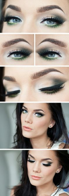 Linda Hallberg - silver to matte dark grey and green under the eye make up look...x