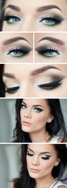 Linda Hallberg - silver to matte dark grey and green under the eye make up look...x