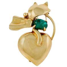 SEAMAN SCHEPPS Emerald Gold Brooch