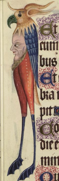 This is beyond bizarre - from the Luttrell Psalter, anonymous medieval manuscript known for its scenes of daily life and otherworldly beings.