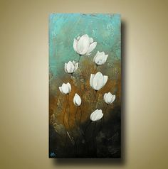 Abstract Flower Painting Original Art with Texture Lotus Flower 18x36 by Britt Hallowell via Etsy