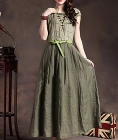 Trees Patchwork Waist Belt Linen Dress-zeniche.com SKU aa0291--especially with the Union Jack in the background!