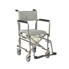 Shower Commode Rehab Wheelchair with Rear Locking Casters -   Commode With Four 5 Casters Rear Casters With Locks. Can be positioned over a standard toilet or used as a portable self contained commode. Removable full arms with plastic armrests allow for easy transfer. Corrosion resistant stainless steel frame. Cushioned vinyl seat is sealed to prevent moisture penetration. Removable pail and lid are included.