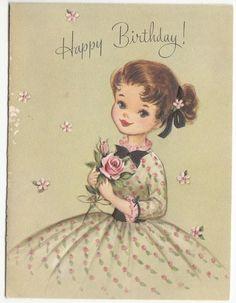 Happy Birthday Ecard, Happy Birthday Vintage, Happy Birthday Wishes Cards, Happy Birthday Girls, Birthday Greeting Cards, Vintage Greeting Cards, Vintage Postcards, Pintura Country, Old Cards