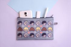 PREORDER:+Orders+containing+this+preorder+item+will+be+shipped+out+early+January  ☆Yuri+On+Ice+Zip+Purse+ ☆12+x+21cm+ ☆You+can+use+this+as+a+pencil+case,+make+up+bag,+to+hold+your+cash+or+even+your+mobile+phone+ ☆Made+of+Polyester+Heavy+Satin+ ☆Grey+Habutai+Lining+ ☆Grey+zipper