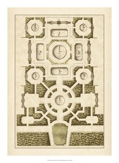 size: Art Print: Small Garden Maze III by Jacques-francois Blondel : Travel Framed Art Prints, Framed Artwork, Wall Art, Architecture Concept Drawings, Architecture Panel, Garden Architecture, Architecture Design, New Wall, Maze