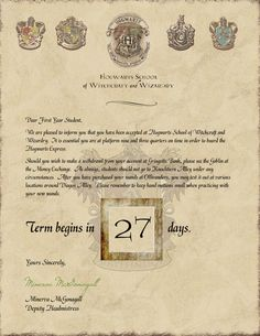 """This Harry Potter Hogwarts Acceptance Letter Countdown to Universal's Wizarding World of Harry Potter printable measures 8"""" x 10"""". Description from etsy.com. I searched for this on bing.com/images"""