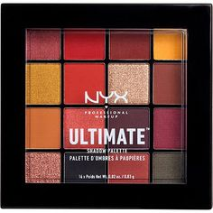 NYX Professional Makeup Phoenix Ultimate Shadow Palette is as dope as ever! Brimming with smokey tones of true navy and gray, the Phoenix palette comes loaded with bright-haute shades of red and berry-perfect for creating intense, sizzling looks. Nyx Eyeshadow Palette, Nyx Palette, Makeup Palette, Drugstore Eyeshadow, Lipstick Dupes, Paleta Nyx, Beauty Make-up, Makeup Must Haves, Makeup Revolution