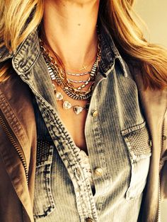 Layered perfection! Sutton Necklace, Somervell Necklace, Interlock Cross Necklace Find it at www.stelladot.com/yadira