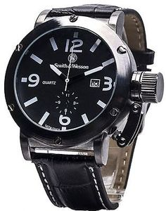 Smith & Wesson EGO Series Luxury Sport Men's Watch Black Alloy Large Face