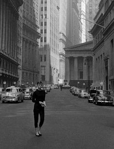 Audrey Hepburn on Wall Street in 1954