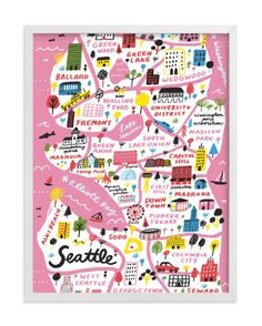 """""""I Love Seattle"""" - Limited Edition Art Print by Jordan Sondler in beautiful frame options and a variety of sizes. Chicago Map, Unique Maps, Seattle Art, Hand Illustration, Illustrations, Custom Art, Plexus Products, Rey, Canvas Frame"""