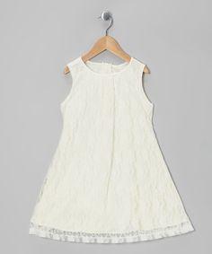 Look at this #zulilyfind! Ivory Floral Lace A-Line Dress - Girls by Cinderella Couture #zulilyfinds