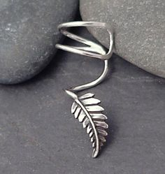 Not sure how this looks when worn. Sterling Leaf EAR CUFF New Leaf Swirly Silver by SunnySkiesStudio, Sterling Silver Jewelry, 925 Silver, Silver Fern, Silver Jewellery, Silver Ring, Silver Ear Cuff, Cuff Earrings, Helix Earrings, Silver Earrings