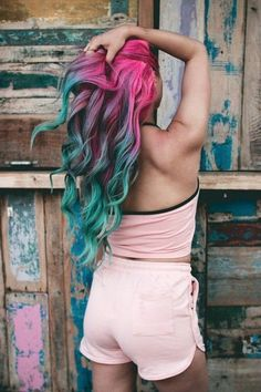 Pink and blue hair unicorn hair dyed hair, hair styles и tea Teal Hair Color, Pretty Hair Color, Hair Dye Colors, Bright Colored Hair, Crazy Color Hair Dye, Fun Hair Color, Bright Hair Colors, Unicorn Hair Dye, Hair Images