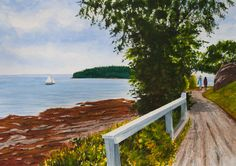 SHORE WALK -  Bar Harbor, Maine. Signed limited edition (50) giclée print of a watercolor painting • Size: 20 X 14 inches $175 #Acadia #Maine #watercolor #painting
