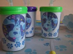 I like the idea of cups for favors Blue Birthday, Third Birthday, 2nd Birthday Parties, Birthday Ideas, Clue Themed Parties, Party Themes, Party Ideas, Clue Party, Blues Clues