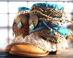 beachy boho boots - upcycled vintage boots from TheLookFactory on Etsy