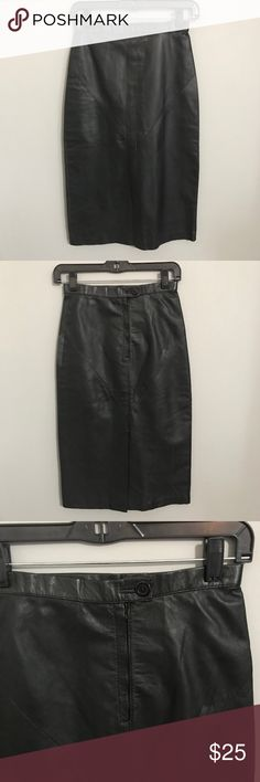 Genunie Leather Skirt With back Slit Size 6 100% leather skirt with full lining and a back slit. The lining is made of 100% nylon. Skirt length is 27 inches and across the waist is 12.5. Skirts