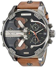 2a2139b06039 Diesel Men s DZ7332 Mr Daddy 2.0 Gunmetal Brown Leather Watch