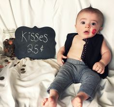Kiss the baby! Valentine's Day pictures for baby boy- by:Mickelle Zaugg