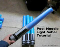 It's not a Star Wars party unless you have lightsabers! Click here to learn how to make lightsabers out of pool noodles and tape!