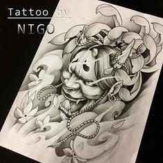 광주타투 니고 (@nigo_tattooer) • Instagram photos and videos Daruma Doll Tattoo, Oni Tattoo, Hanya Tattoo, Samurai Tattoo, Japanese Mask Tattoo, Japanese Dragon Tattoos, Japanese Tattoo Designs, Japanese Sleeve Tattoos, Buddha Tattoo Design