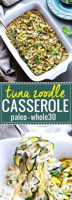 Paleo Tuna Green Chile Zoodle Casserole An EASY paleo tuna zucchini noodle casserole thats Whole 30 approved high protein low carb Hearty yet healthy this dish can feed a. Zoodle Recipes, Spiralizer Recipes, Seafood Recipes, Paleo Recipes, Cooking Recipes, Dog Recipes, Protein Recipes, Free Recipes, Paleo Casserole Recipes