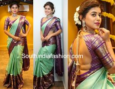 At Mugdha store launch event in Hyderabad, Yamini Bhaskar showcased their collection wearing a mint green Kanchipuram saree that has purple and gold zari border paired with mathcing elbow length sleeves backless blouse. Polki necklace set from Kalasha Fine Jewels and an updo enhanced with mogra completed her look!