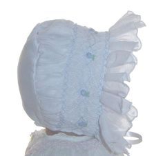 NEW Will'Beth White Smocked Baby Bonnet with Blue Embroidered Flowers $30.00