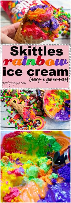OMG! It's a recipe for Rainbow Ice Cream that totally tastes like Skittles. Holy awesome on a stick. And it's vegan, dairy-free and gluten-free. So. Awesome. With a unicorn on top.  #ad #MakeSB50Sweeter #cbias