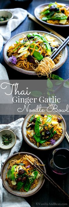 A gingery, garlicky stir fry loaded with blanched snow peas, fresh carrots… Vegan Recipes | Vegetarian Recipes | Healthy Recipes
