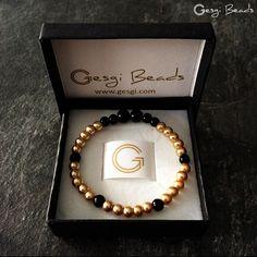 Gesgi Beads Bracelet Gold Black GBGB7 « Gesgi Beads