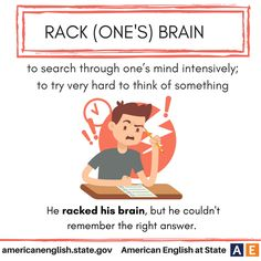 Expression: Rack (one's) brain English Vinglish, British English, English Idioms, English Vocabulary Words, American English, English Phrases, English Study, English Words, English Lessons