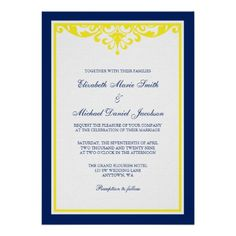 Navy Blue and Yellow Flourish Wedding Invites