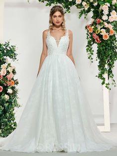 Appliques Sleeveless Floor-Length A-Line Church Wedding Dress 2217f9e986d4
