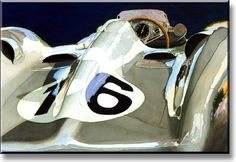 """Stromlinienwagen"" 1954 Mercedes-Benz W196 (by Roger Blanchard, limited edition print of 196, Giclée on paper, size 33cm x 48.2cm)"