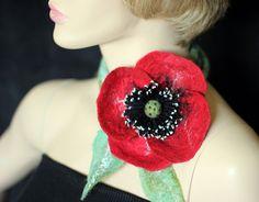 Hand felted poppy flower necklace brooch belt