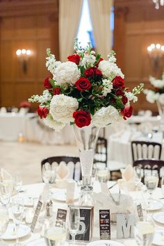 Fresh Flower centerpiece with red roses and white hydrangeas in a clear glass vase with crystal bottom Red Wedding Centerpieces, White Hydrangea Centerpieces, Red Hydrangea, White Centerpiece, White Hydrangeas, Centerpiece Ideas, Red And White Weddings, White Roses Wedding, Red And White Wedding Decorations